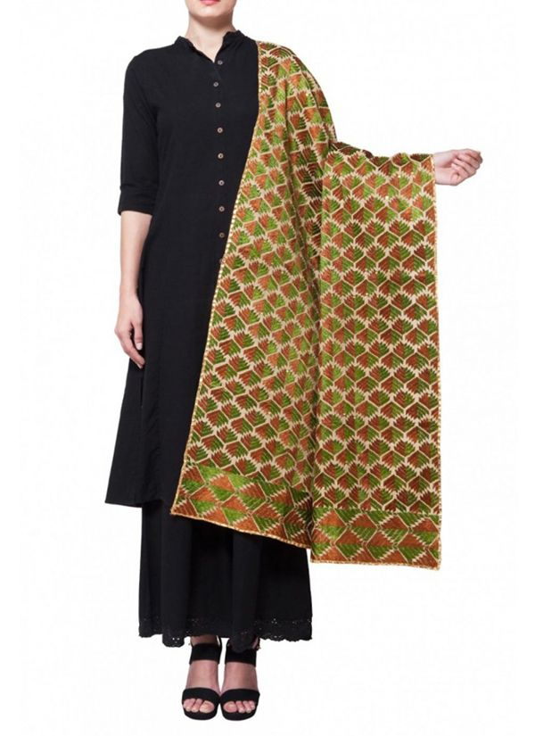 A lovely stole by Absolute Pashmine featuring pretty all over traditional Phulkari embroidery from Punjab in brown and green. The gota embellished detailing accentuates its look even further. Layer it over white, black, crea, and red ensembles for maximum appeal. #india #cashmere #phulkari #traditional