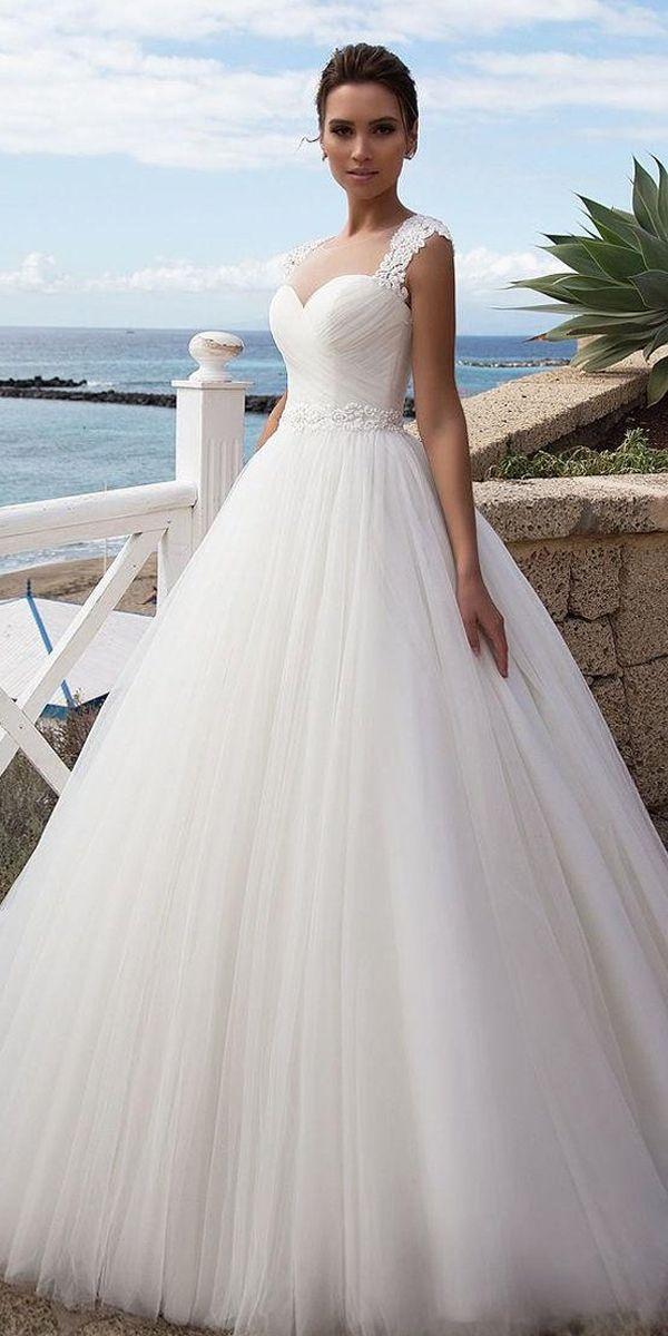226 99 Stunning Tulle Jewel Neckline A Line Wedding Dress With