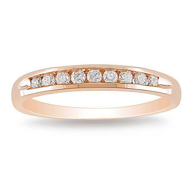 Unique carat channel set wedding band in rose gold