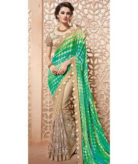 Exotic Green And Beige Silk Designer Saree.