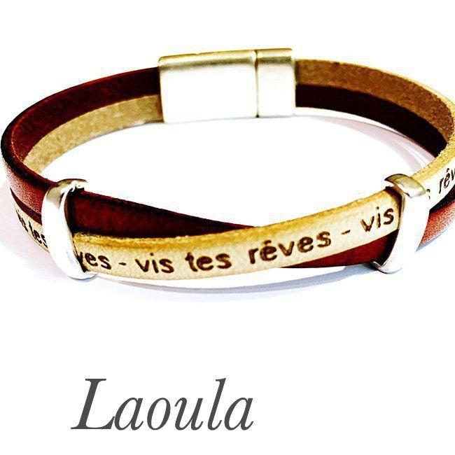 Bracelet en cuir femme homme vis tes rêves 267496