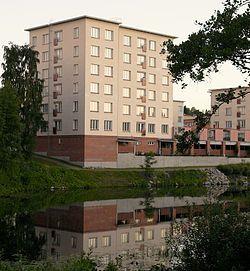 Kolmas Pyörä and Fillari student dorms (and Mustinlampi-pond) in Niirala, Kuopio, Finland.