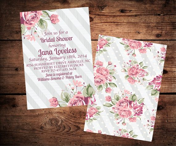 100 best tarjetera shabby chic images on pinterest invitations shabby chic bridal shower invitation vintage roses and grey stripes printable filmwisefo