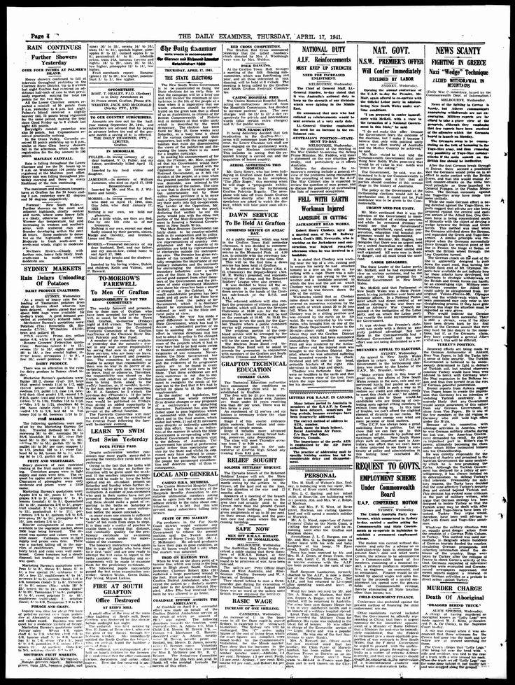 Daily Examiner (Grafton, NSW) - Australian Newspapers - MyHeritage