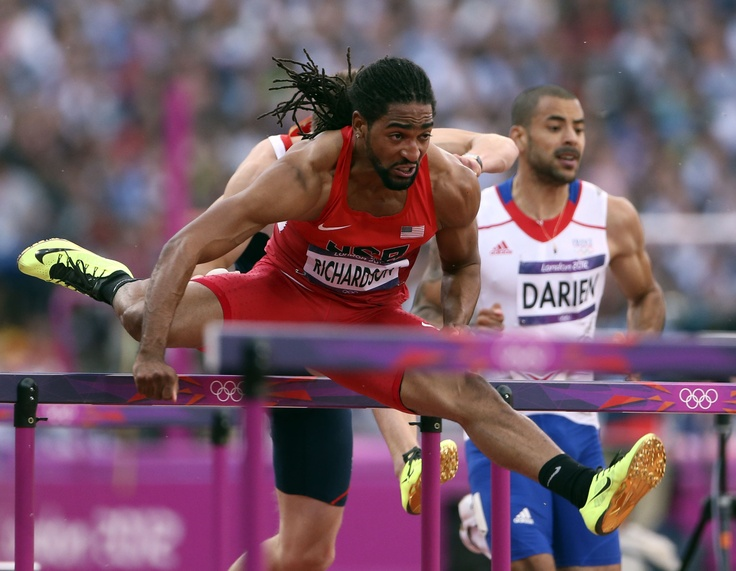 Jason Richardson, competes in the men's 110-meter hurdles and takes home the Silver Medal for the US second to USA's Aries Merritt.