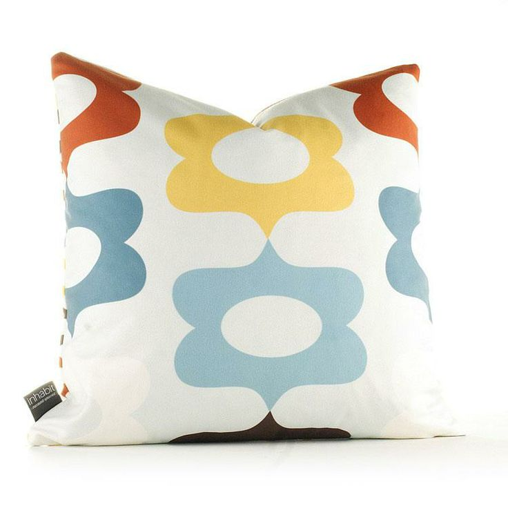 "Modern pillows from Inhabit. Laugh in cornflower 18"" sq or 13x24."