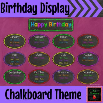 Chalkboard Birthday Display | Birthday -Chart **Editable** : Print this bright chalk board themed birthday chart to display your PreK, Kindergarten, 1st, 2nd, 3rd and 4th grade students' birthdays in your classroom. This chart is in a PowerPoint file so that it is EDITABLE for you to personalise for your own class. Simply add a text box where required, add text and print!