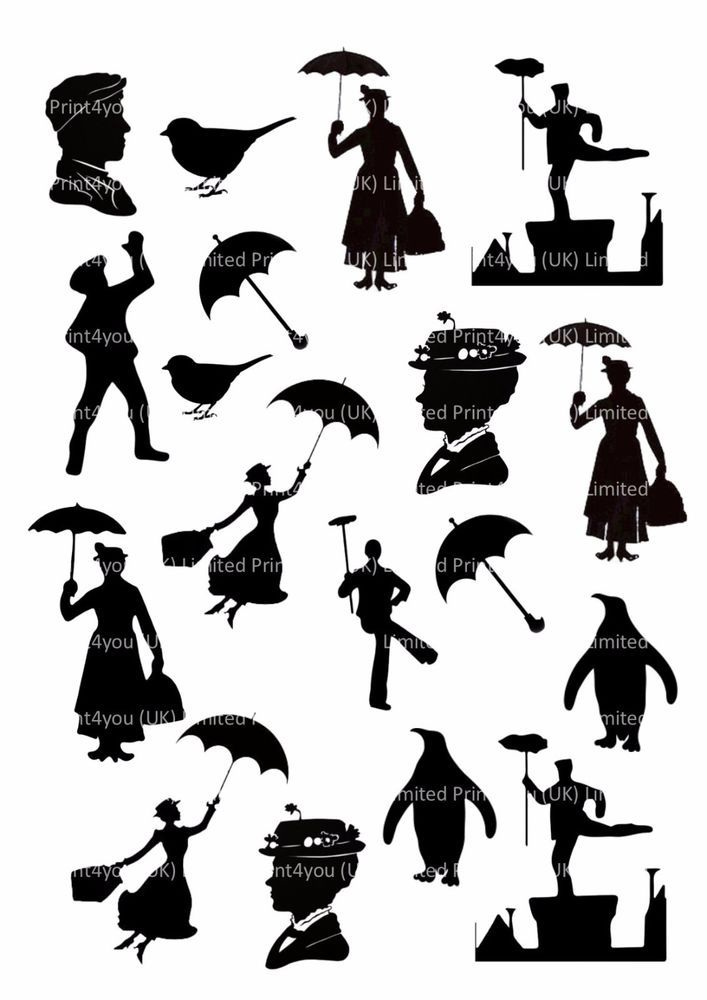 Mary Poppins Silhouettes Icing Cupcake Cake Toppers