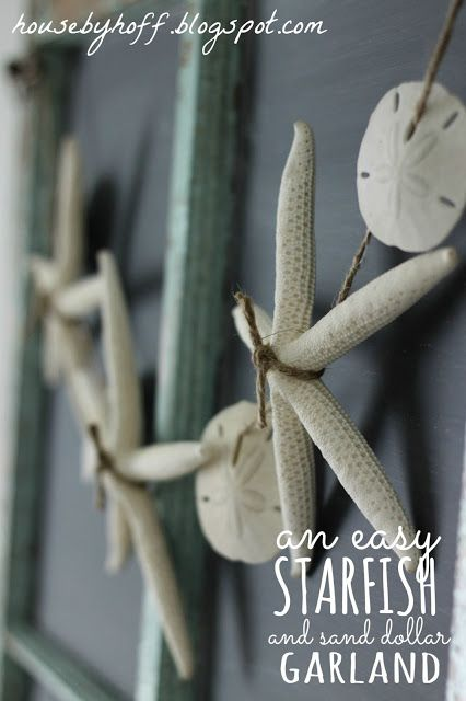 Need something to make with collected treasures? Starfish and Sand Dollar Garland  (10 Summer Seashell Decor DIYs)