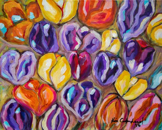 Never Enough Tulips Original Acrylic Painting by CrookedfingerArt