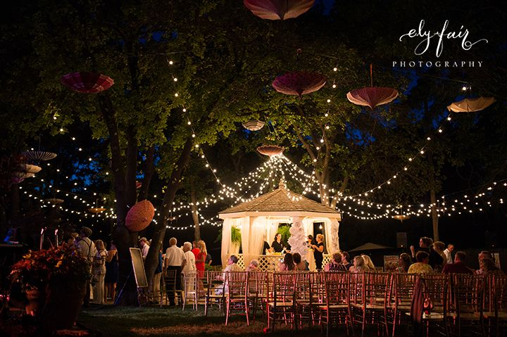vintage circus themed wedding, big top lights