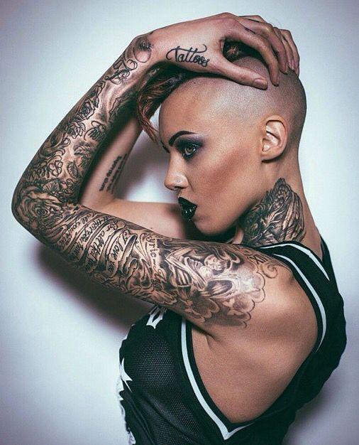 shaved head tattoos