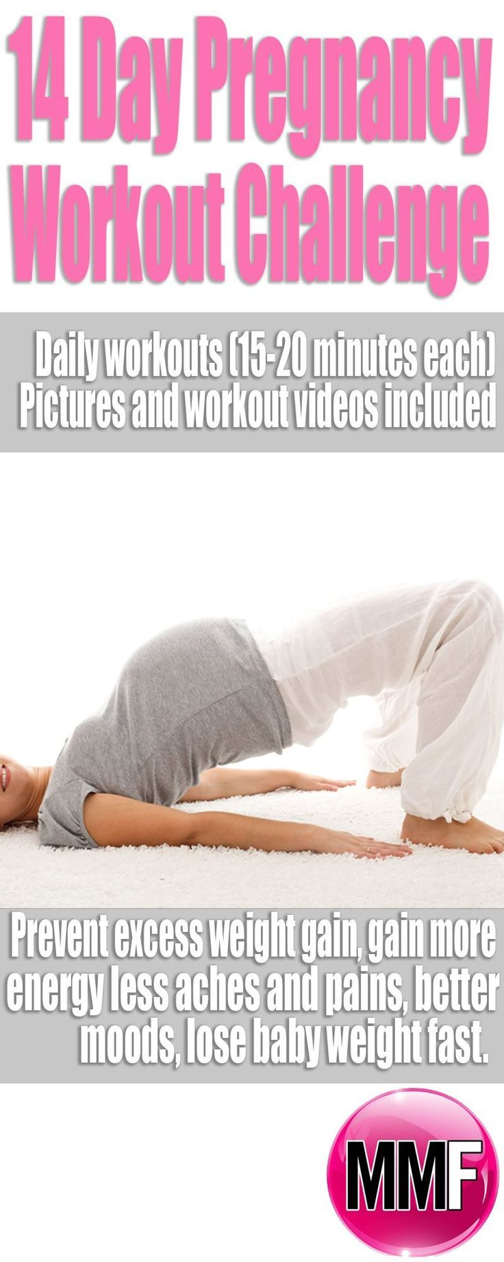 The motivation and guidelines you need to start exercising during pregnancy. 14 Day Jumpstart Pregnancy Workout Challenge Daily workouts and motivation. Pictures and workout videos included #pregnancyguidelines,