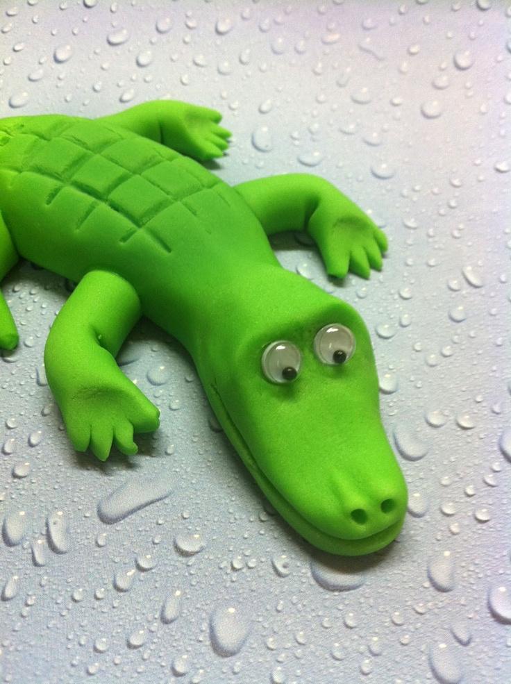Fondant Crocodile Cake topper For your Safari or Jungle ...