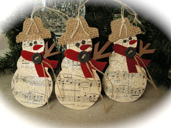 Handmade music tags measure approximately 4,5 x 3 So lovely for tying onto christmas gift bag. Price is for 1 tag.