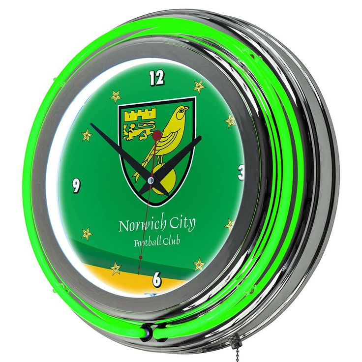 Norwich City FC Neon Wall Clock, Green