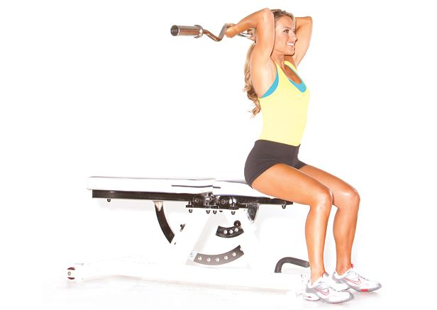 8 Effective Triceps Moves — Seated Overhead Barbell Extension
