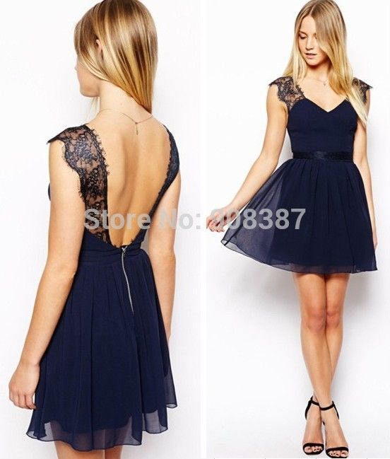 Encontrar Más Vestidos Información acerca de Vestido ajustado de encaje gasa, verano azul marino mujer fiesta corto patchwork vestidos cuello en V profundo backless sexy para mujeres, alta calidad vestir a la margarita, China vestir delgado Proveedores, barato vestido llevó de Made-in-China international trade co.,ltd  en Aliexpress.com