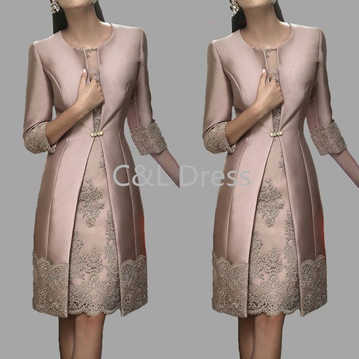 Cheap godmother dresses, Buy Quality mother of bride directly from China mother of the bride Suppliers: Fashion Brown Sheath Mother of the Bride Lace Dresses With Three Quarter Jacket Knee Length Short Godmother Dresses