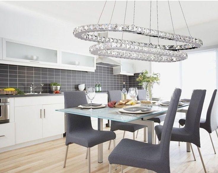 LED K9 Crystal Oval Ring Lustre Dining Room Suspended Chandelier Pendant Lamp