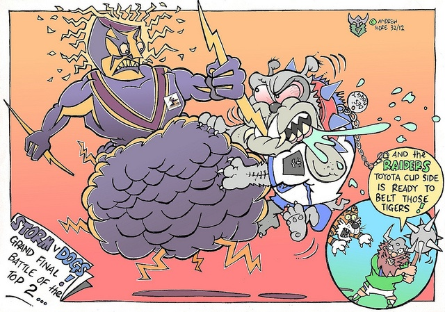 Victor the Viking - Going to the 2012 Toyota Cup Grand Final! Canberra Raiders V Wests Tigers.