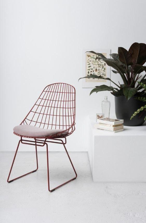 Pastoe SM05 stoel met kussen wire stoel rood