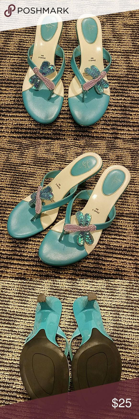 Blue Butterfly 2 inch Heels In good condition, barely any signs of wear Life Stride Shoes Heels