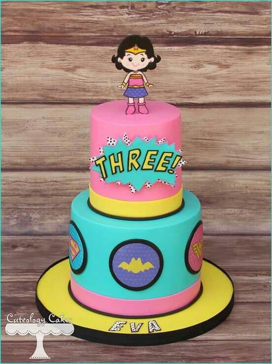 Cute girl super heroes cake