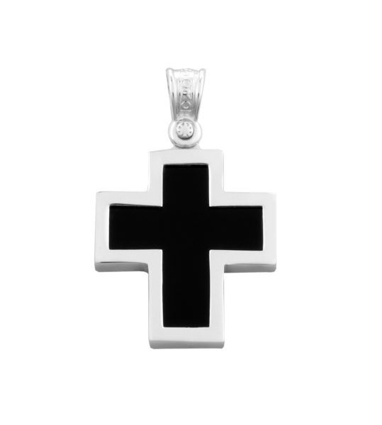 Σταυρός ανδρικός  μαύρο  Al'oro λευκόχρυσο Κ14 -ΑΤΧ236
