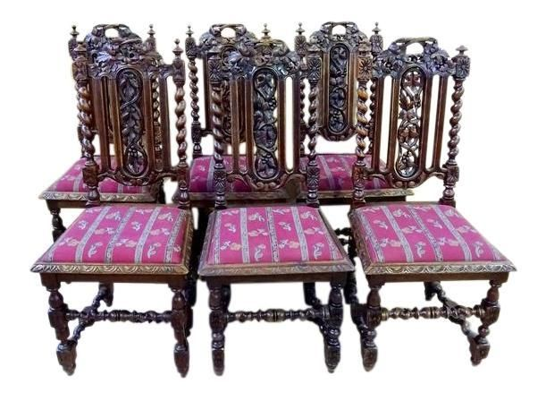 Set Of Six French Jacobean Barley Twist Carved Oak Dining Chairs Purple Red  | Oak Dining Chairs And Products