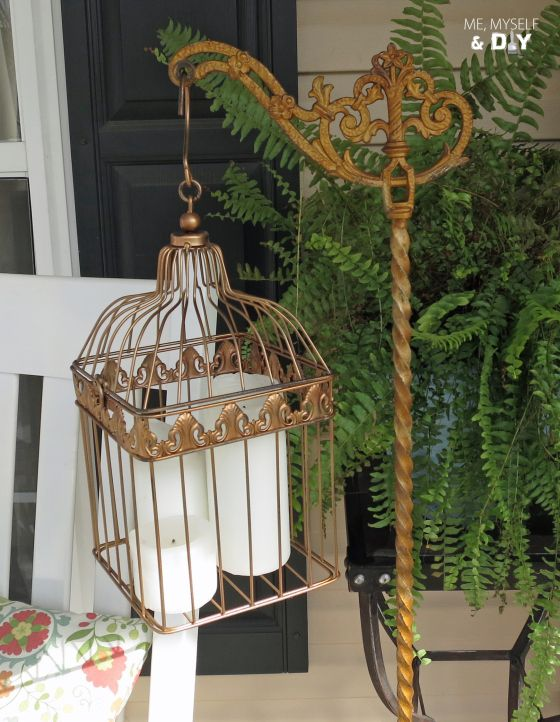 Vintage cast iron floor lamp repurposed with painted birdcage - perfect for holding candles, plants and more!