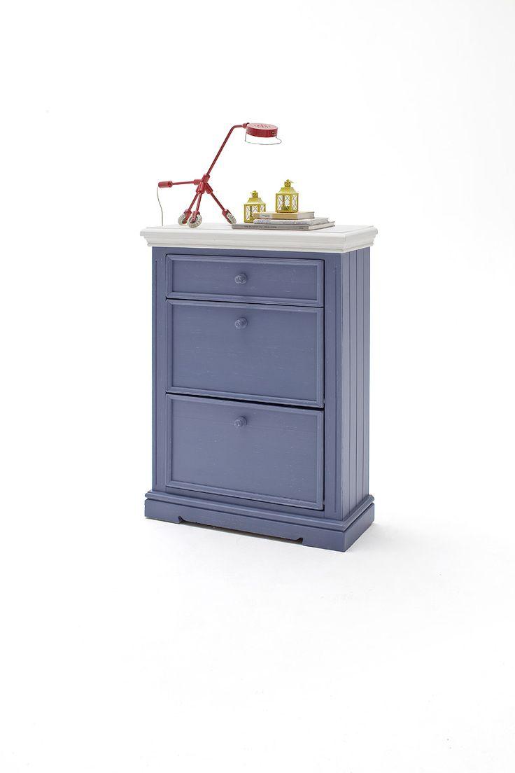 Schuhschrank LaMer I Brilliantblau Passend zum Möbelprogramm LaMer 1 x Schuhschrank mit 1 Schubkasten und 2 Klappen Maße: B/H/Tca. 80 x 110 x 30 cm Korpus /...  #flur #schuhschrank