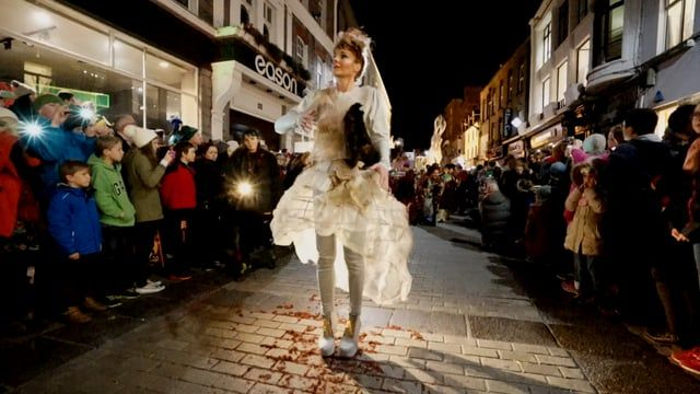 The Shadow Lighter' October Bank Holiday Parade by Macnas on the streets of Galway. 'The Shadow Lighter' featured the new Macnas character of Danu – a 15 ft high wild woman, the shadow lighter mistress of old stories, magic and medicine. Alongside her wal