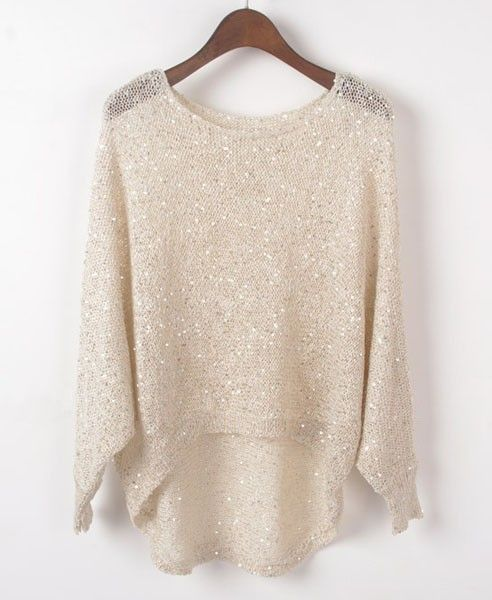 High Low Beige sweater with sequins!