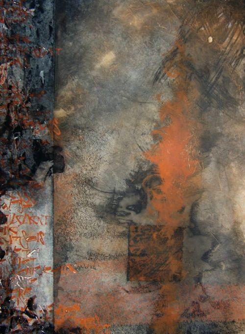 la mort d'Hector, homère ~ by   elisabeth couloigner.Médium enduit, pigments noir de fumée et oxyde de fer, collage de papiers chinois monotypés, tire-ligne et plume pointue.  Homère, la voix d'Achille est en noir, celle d'Hector en oxyde de fer.
