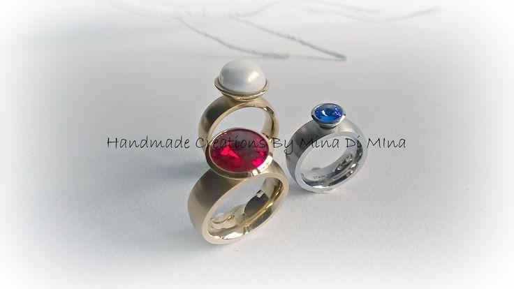 F/W '14-'15 new new new  ....ατσάλινα δαχτυλίδια με κρύσταλλα swarovski σε διάφορα σχήματα,χρώματα αλλά και μεγέθη....!