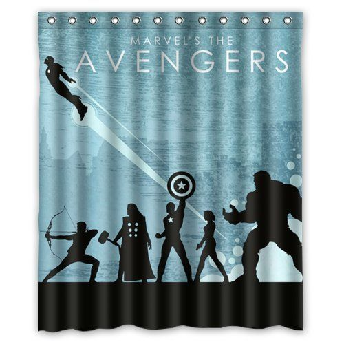 Bathroom Custom Unique Design Anime Superhero The Avengers Waterproof Fabric Shower Curtain 72 By 60 Inch Show