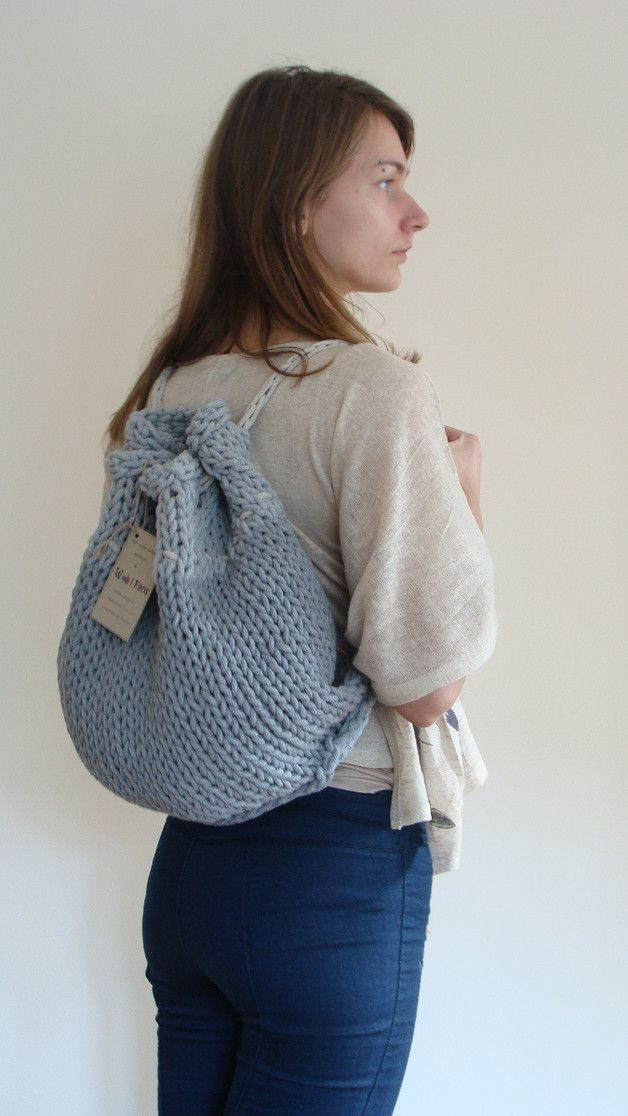 Great gift for knitting fans. Backpacks – Hand knitted grey cotton backpack – a unique product by WoolFans via en.DaWanda.com