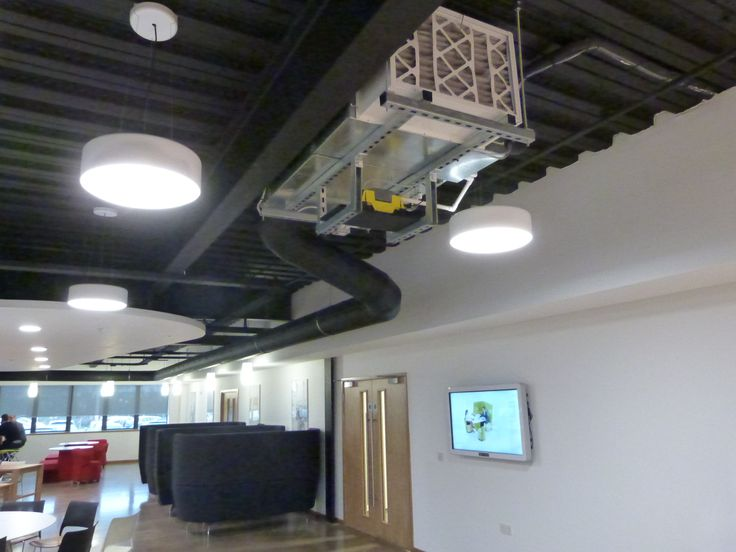 Hi-Velocity systems suspended from the ceiling in the canteen area.