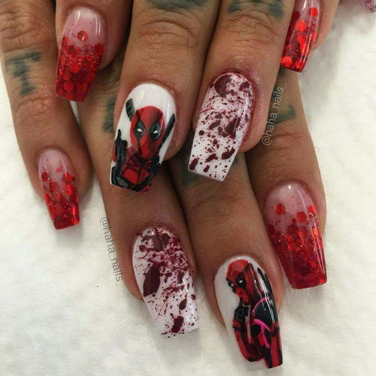 Deadpool nails WIN by @haha_nails_ on Instagram - Best 25+ Comic Nail Art Ideas On Pinterest Comic Book Nails, DIY