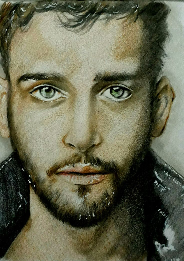 Handsome male in colored pencil