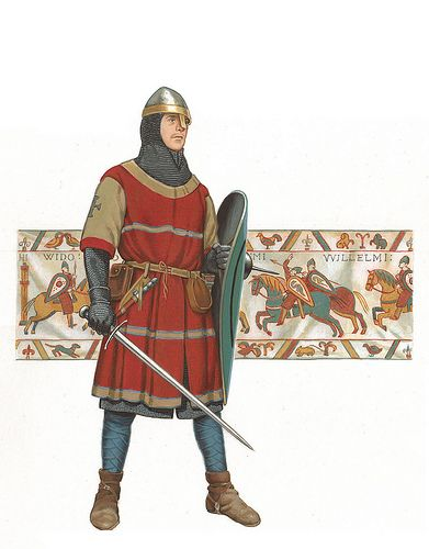 Norman knight, c. 1066 (Bayeux Tapestry in background)