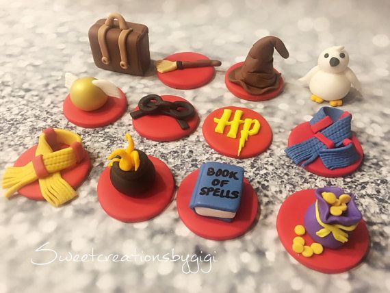 12 Harry Potter Theme Edible Cupcake Toppers Fondant