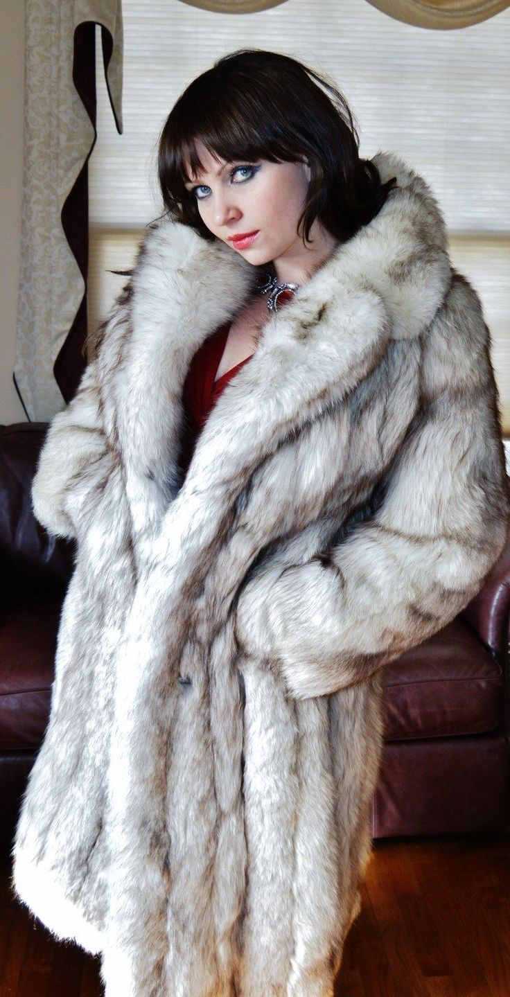 Fab Genuine Norwegian Blue Fox Fur Coat Full Length Full