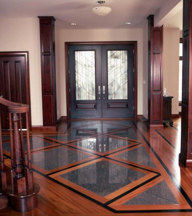 Wood and tile installed together for the home Wood floor design ideas pictures