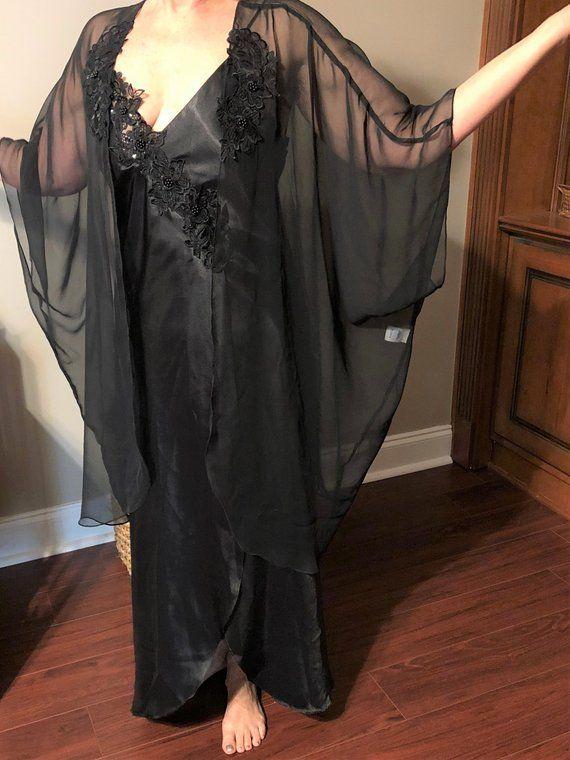 Vintage Black Nightgown Plus Size