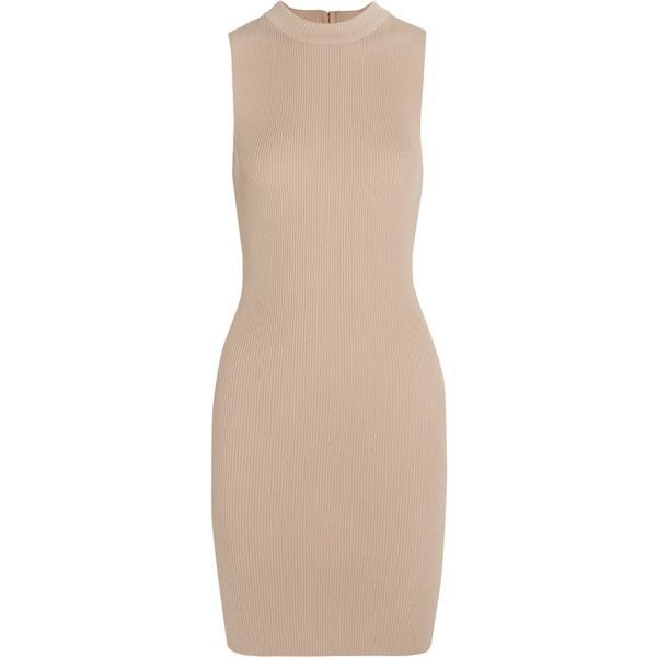 Tart Collections Taya ribbed stretch-knit dress found on Polyvore featuring dresses, beige, zip dress, pink dress, rib dress, beige dress and tart dresses