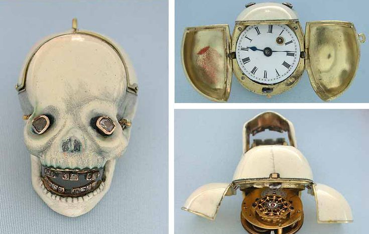 Skull pocket watch, different views. Dating from around 1810, the Skull watch is crafted in 18K gold and studded with diamonds set eyes and teeth.