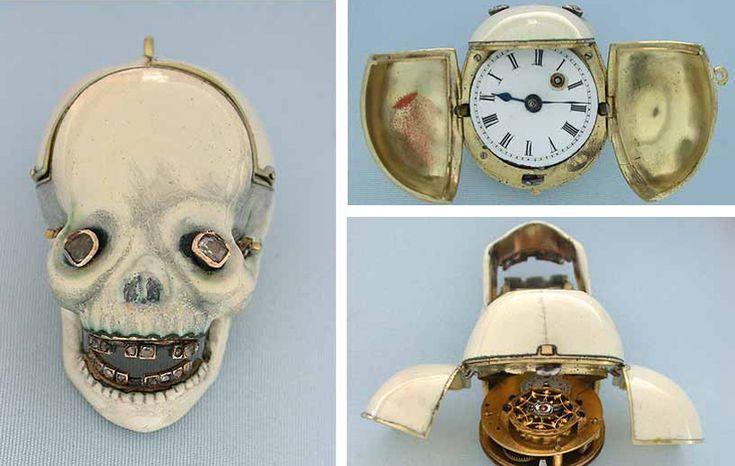 antique skull pocket watch..rare & cool.