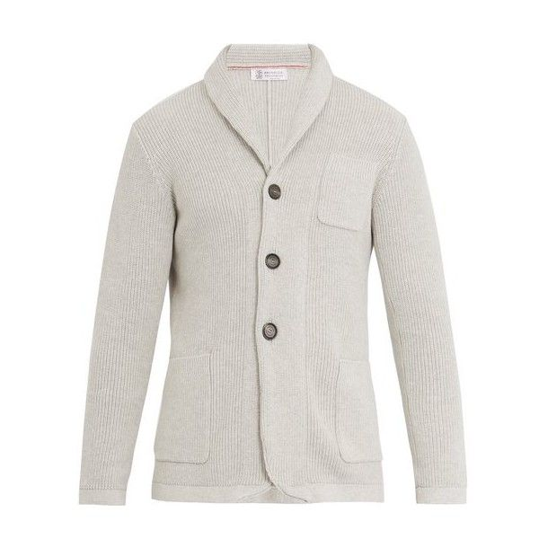 Brunello Cucinelli Shawl-collar ribbed-knit cotton cardigan ($1,525) ❤ liked on Polyvore featuring men's fashion, men's clothing, men's sweaters, light grey, mens cardigan sweaters, mens slim fit sweaters, mens shawl collar cardigan sweater, mens shawl collar sweater and mens slim fit cardigan sweaters